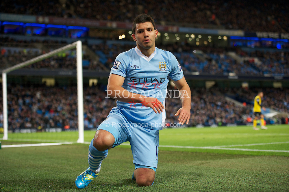 MANCHESTER, ENGLAND - Saturday, February 25, 2012: Manchester City's Sergio Aguero looks dejected after missing a chance against Blackburn Rovers during the Premiership match at City of Manchester Stadium. (Pic by David Rawcliffe/Propaganda)