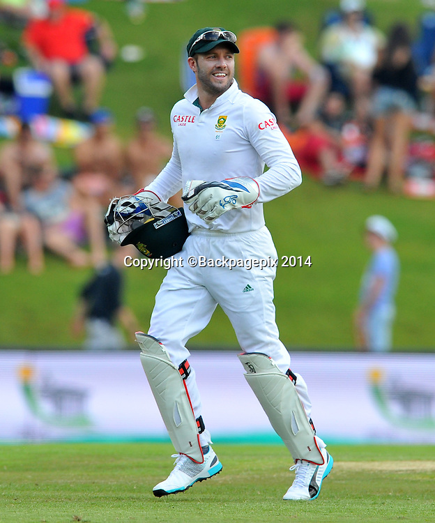AB de Villiers of South Africa during the 2014 Sunfoil 1st Test match between South Africa and West Indies at the Supersport Park in Pretoria, South Africa on December 19, 2014 ©Samuel Shivambu/BackpagePix