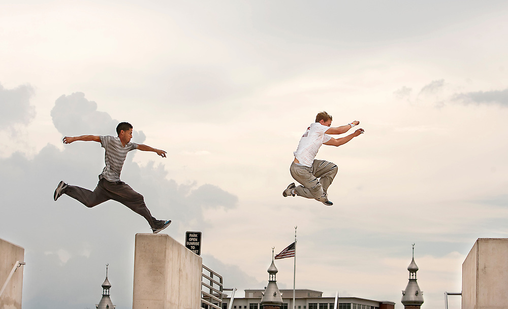 (09/09/2010 Tampa)  Parkor athletes Daniel Arroyo, 23,  and Ryan Doyle, 25, bound from column to column as they play and practice their discipline, creativity and prowess as Parkour athletes Thursday in downtown Tampa.  Arroyo and Doyle were also on MTV's Ultimate Parkour Challenge and will judge the Red Bull Art of Motion Parkour competition in Ybor City Saturday.  [WILLIE J. ALLEN JR. | Times]