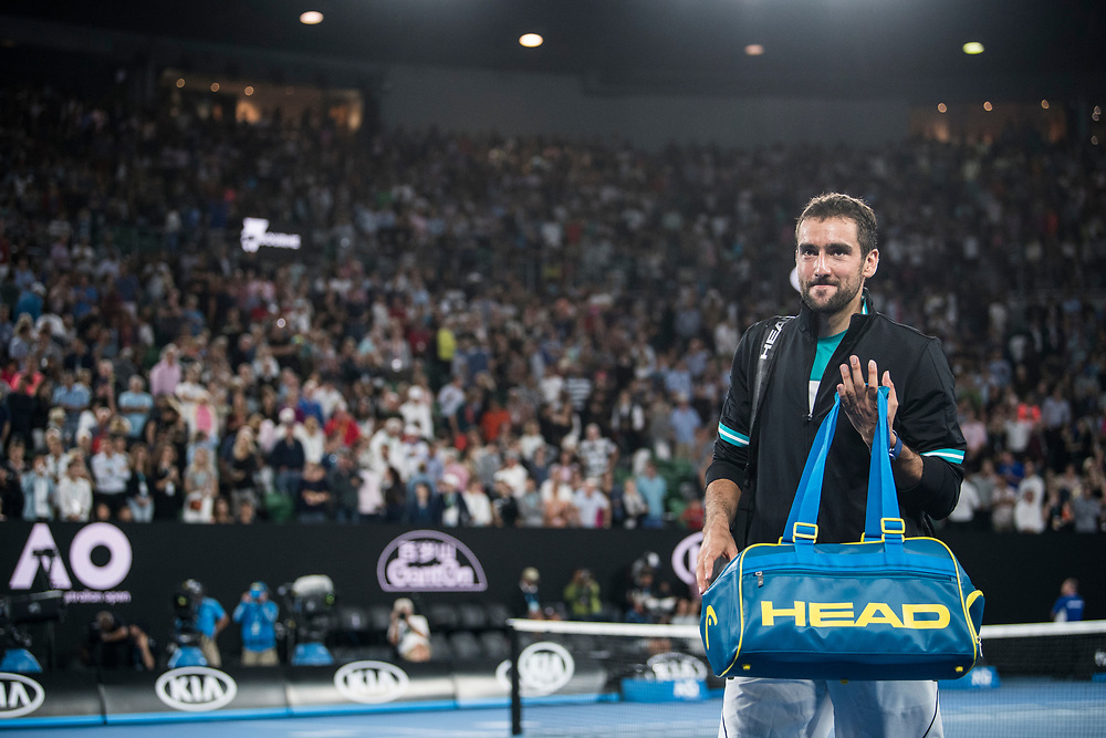 Marin Cilic of Croatia on day nine of the 2018 Australian Open in Melbourne Australia on Tuesday January 23, 2018.<br /> (Ben Solomon/Tennis Australia)