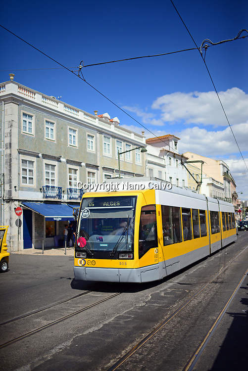 Yellow tram in Belem, Lisbon