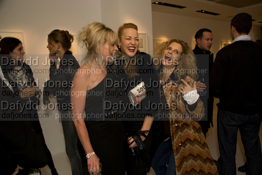 JO WOOD; JERRY HALL; SUZANNE WYMAN, Elaine Ferguson. ' Texas Blues'. Scream Gallery. Bruton St. London. 11 December 2008 *** Local Caption *** -DO NOT ARCHIVE -Copyright Photograph by Dafydd Jones. 248 Clapham Rd. London SW9 0PZ. Tel 0207 820 0771. www.dafjones.com<br /> JO WOOD; JERRY HALL; SUZANNE WYMAN, Elaine Ferguson. ' Texas Blues'. Scream Gallery. Bruton St. London. 11 December 2008