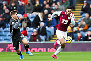 Burnley midfielder Dwight McNeil in action  during the Premier League match between Burnley and Leicester City at Turf Moor, Burnley, England on 19 January 2020.