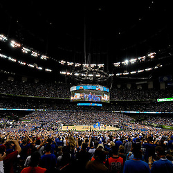 Apr 2, 2012; New Orleans, LA, USA; A general view as the Kansas Jayhawks take to the court before the start of the finals of the 2012 NCAA men's basketball Final Four against the Kentucky Wildcats at the Mercedes-Benz Superdome. Mandatory Credit: Derick E. Hingle-US PRESSWIRE