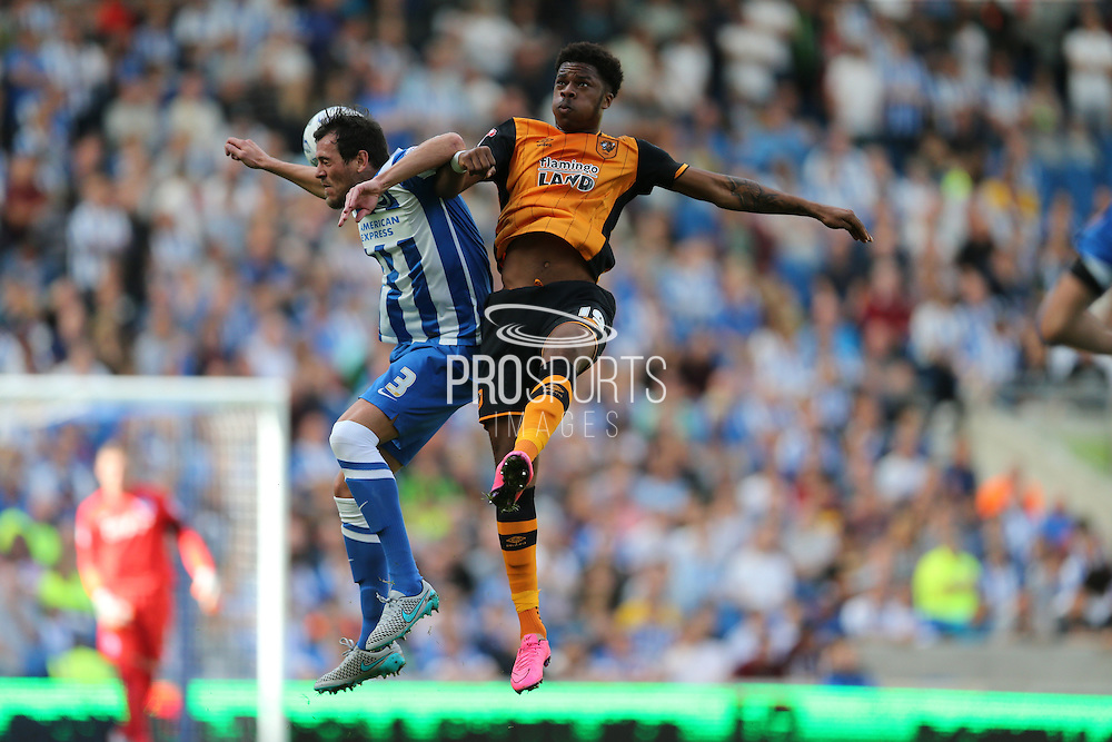 Hull City striker Chuba Akpom wins a header the Sky Bet Championship match between Brighton and Hove Albion and Hull City at the American Express Community Stadium, Brighton and Hove, England on 12 September 2015.