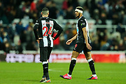 Joelinton (#9) of Newcastle United leaves the pitch wearing a bandage around his head following the The FA Cup match between Newcastle United and Oxford United at St. James's Park, Newcastle, England on 25 January 2020.