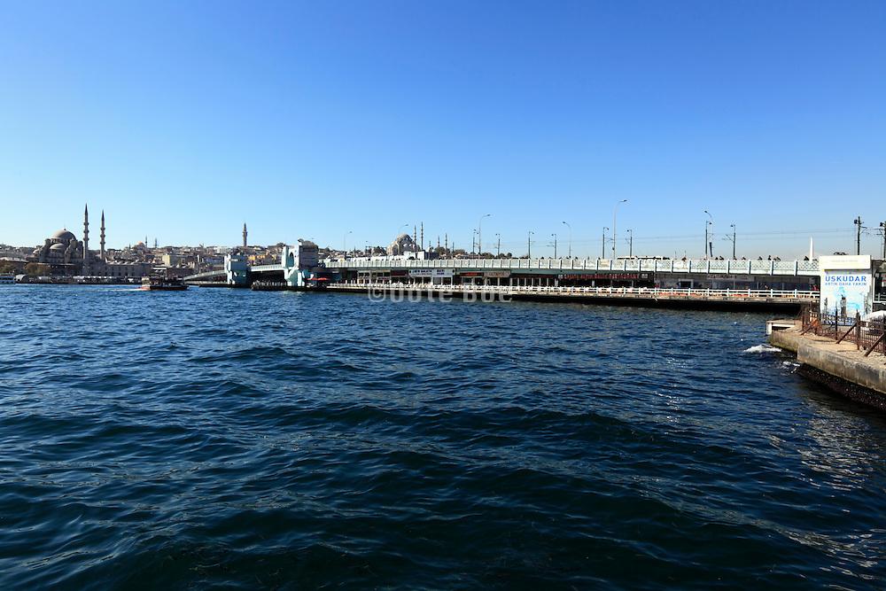 Galata bridge with the Yeni Camii mosque in Istanbul