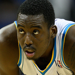 January 29, 2012; New Orleans, LA, USA; New Orleans Hornets small forward Al-Farouq Aminu (0) against the Atlanta Hawks during a game at the New Orleans Arena. The Hawks defeated the Hornets 94-72.  Mandatory Credit: Derick E. Hingle-US PRESSWIRE
