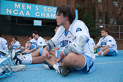 14 February 2009: North Carolina Tar Heels attackman Billy Bitter (4) during the halftime of a 20-7 win over the Denver Pioneers on Fetzer Field in Chapel Hill, NC.