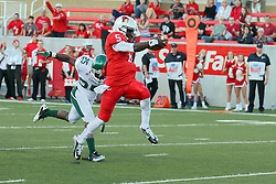 06 Sep 2014: Demarius Pegues is too late to stop Tre Roberson from making the final leap to cross the goal line during a non-conference NCAA football game between the Delta Devils of Mississippi Valley State and the Redbirds of Illinois State at Hancock Stadium in Normal Il