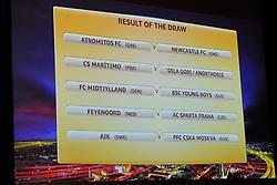 10.08.2012, UEFA Zentrale, Nyon, SUI, UEFA Europa League Auslosung, im Bild Die ausgelosten Partien der Europa League Playoffs 2012/2013 // during UEFA Europa League Draw at the UEFA Headquater, Nyon, Switzerland on 2012/08/10. EXPA Pictures © 2012, PhotoCredit: EXPA/ Freshfocus/ Urs Lindt..***** ATTENTION - for AUT, SLO, CRO, SRB, BIH only *****