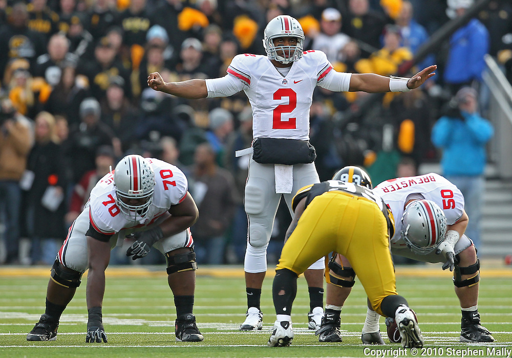 November 20 2010: Ohio State Buckeyes quarterback Terrelle Pryor (2) signals his team during the first quarter of the NCAA football game between the Ohio State Buckeyes and the Iowa Hawkeyes at Kinnick Stadium in Iowa City, Iowa on Saturday November 20, 2010. Ohio State defeated Iowa 20-17.