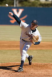 Virginia Cavaliers pitcher Jacob Thompson (25) delivers a pitch against Bucknell.  The Virginia Cavaliers Baseball Team defeated the Bucknell University Bisons 3-0 in the first game of a doubleheader at Davenport Field in Charlottesville, VA on February 24, 2007.