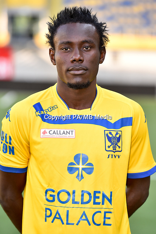 STVV's Victorien Angban poses for the photographer during the 2015-2016 season photo shoot of Belgian first league soccer team STVV, Friday 17 July 2015 in Sint-Truiden.