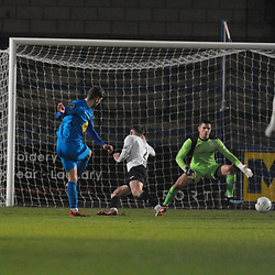 TELFORD COPYRIGHT MIKE SHERIDAN GOAL. George Carline scores to make it 0-1 for Leamington during the FA Trophy Round 1 fixture between AFC Telford United and Leamington at the New Bucks head Stadium on Tuesday, December 17, 2019.<br /> <br /> Picture credit: Mike Sheridan/Ultrapress<br /> <br /> MS201920-034