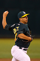 June 28, 2011; Oakland, CA, USA; Oakland Athletics starting pitcher Gio Gonzalez (47) pitches against the Florida Marlins during the sixth inning at the O.co Coliseum.  Oakland defeated Florida 1-0.