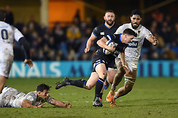 Freddie Burns of Bath Rugby takes on the Clermont Auvergne defence - Mandatory byline: Patrick Khachfe/JMP - 07966 386802 - 06/12/2019 - RUGBY UNION - The Recreation Ground - Bath, England - Bath Rugby v Clermont Auvergne - Heineken Champions Cup