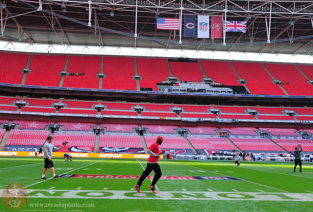 October 23, 2011; London, ENGLAND; Tampa Bay Buccaneers receiver Arrelious Benn warms-up prior to the game against the Chicago Bears in the NFL International Series game at Wembley Stadium.