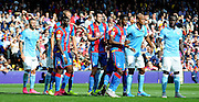 Palace lay in wait for the incomming ball during the Barclays Premier League match between Crystal Palace and Manchester City at Selhurst Park, London, England on 12 September 2015. Photo by Michael Hulf.