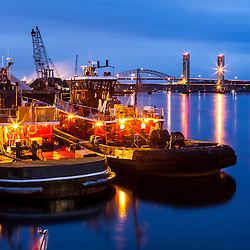 Tugboats moored in the Piscataqua River in Portsmouth, New Hampshire.