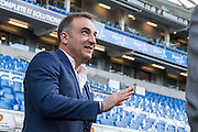 Sheffield Wednesday head coach Carlos Carvalhal in relaxed mood before kick-off of the Sky Bet Championship play-off second leg match between Brighton and Hove Albion and Sheffield Wednesday at the American Express Community Stadium, Brighton and Hove, England on 16 May 2016. Photo by Bennett Dean.