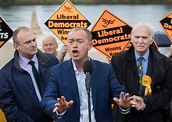 © Licensed to London News Pictures. 01/05/2017. London, UK. Liberal Democrat party leader Tim Farron speaks to supporters flanked by Parliamentary candidates Ed Davey (L) and Vince Cable - as a day of campaigning begins in Kingston-Upon-Thames. The general election is on June 8th 2017. Photo credit: Peter Macdiarmid/LNP