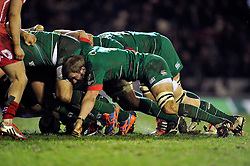 Tom Croft of Leicester Tigers in action at a scrum - Photo mandatory by-line: Patrick Khachfe/JMP - Mobile: 07966 386802 16/01/2015 - SPORT - RUGBY UNION - Leicester - Welford Road - Leicester Tigers v Scarlets - European Rugby Champions Cup