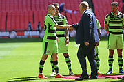 Forest Green Rovers Liam Noble(15) introduces the teams  during the Vanarama National League Play Off Final match between Tranmere Rovers and Forest Green Rovers at Wembley Stadium, London, England on 14 May 2017. Photo by Shane Healey.