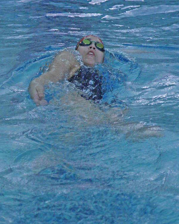 Southwestern's Sydney Thomas during the backstroke leg of the 200 medley reley against Dunkirk 9-8-15 photo by Mark L. Anderson