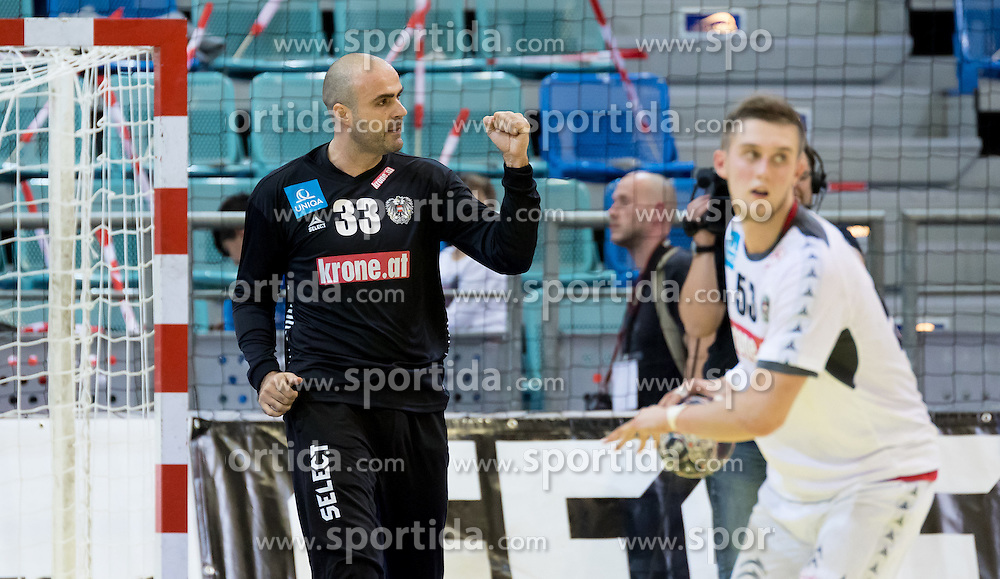 02.11.2016, Arena Nova, Wiener Neustadt, AUT, EHF, Handball EM Qualifikation, Österreich vs Finnland, Gruppe 3, im Bild Goran Aleksic (AUT), Nikola Bilyk (AUT)// during the EHF Handball European Championship 2018, Group 3, Qualifier Match between Austria and Finland at the Arena Nova, Wiener Neustadt, Austria on 2016/11/02. EXPA Pictures © 2016, PhotoCredit: EXPA/ Sebastian Pucher