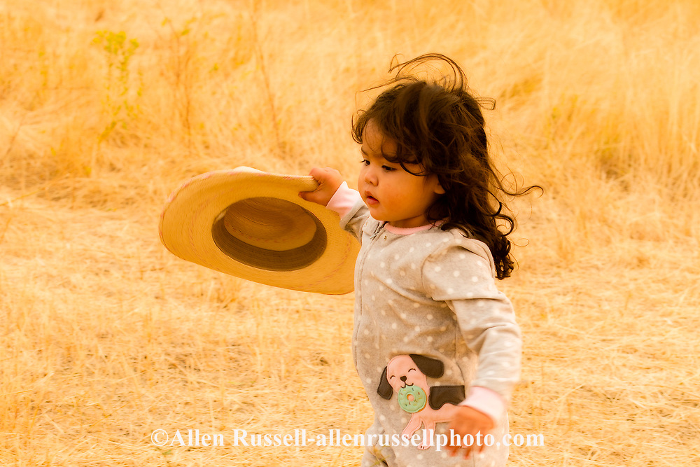 Crow Fair, granddaughter of Henry Real Bird, in camp, Crow Indian Reservation, Montana
