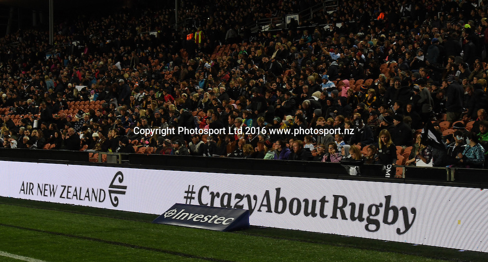 General view of scrolling signage.<br /> New Zealand All Blacks v Argentina Pumas. Test match rugby union. The Rugby Championship. FMG Stadium, Hamilton, New Zealand. Saturday 10 September 2016. &copy; Copyright Photo: Andrew Cornaga / www.Photosport.nz