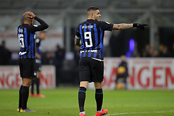 February 3, 2019 - Milan, Milan, Italy - Mauro Icardi #9 of FC Internazionale Milano and Joao Mario #15 of FC Internazionale Milano reacts to a missed chance during the serie A match between FC Internazionale and Bologna FC at Stadio Giuseppe Meazza on February 3, 2019 in Milan, Italy. (Credit Image: © Giuseppe Cottini/NurPhoto via ZUMA Press)