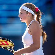 August 22, 2016, New Haven, Connecticut: <br /> Jelena Ostapenko of Latvia reacts after defeating Caroline Wozniacki of Denmark during a match a match on Day 4 of the 2016 Connecticut Open at the Yale University Tennis Center on Monday August  22, 2016 in New Haven, Connecticut. <br /> (Photo by Billie Weiss/Connecticut Open)