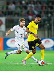 Boris Hüttenbrenner of WAC vs Pierre-Emerick Aubameyang of Borussia Dortmund during football match between WAC Wolfsberg (AUT) and  Borussia Dortmund (GER) in First leg of Third qualifying round of UEFA Europa League 2015/16, on July 30, 2015 in Wörthersee Stadion, Klagenfurt, Austria. Photo by Vid Ponikvar / Sportida