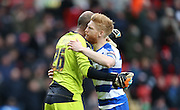 Reading defender Paul McShane (5) and Reading goalkeeper Ali Al Habsi (26) during the Sky Bet Championship match between Charlton Athletic and Reading at The Valley, London, England on 27 February 2016.