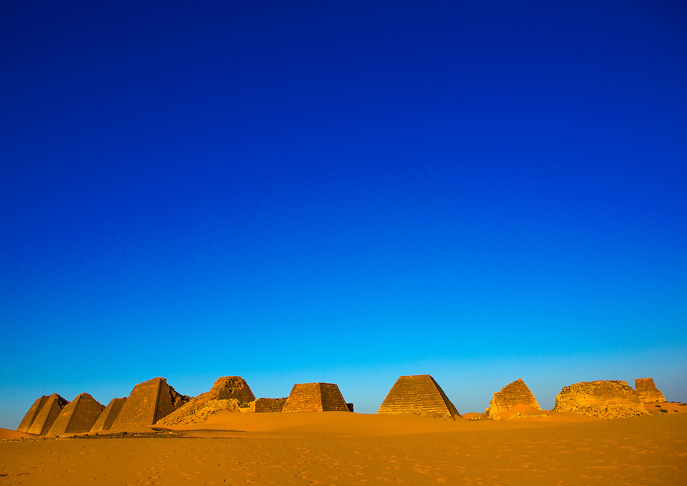 Sudan, Meroe, pyramids in Royal Cemetery.