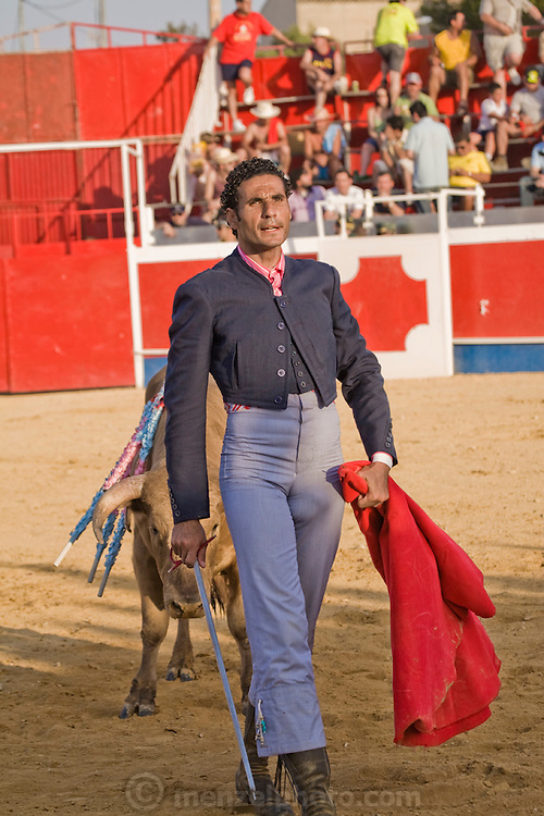 Professional bullfighter Oscar Higares stands with his back to a bull in the ring during the annual village festival of San Juan in Campos del Rio, near Murcia in southern Spain.  (Oscar Higares is featured in the book What I Eat: Around the World in 80 Diets.) Oscar and the bull spend just under 15 minutes together in the ring (an anxious period in which Oscar must control not only the objective dangers, but also his fear).   Each bullfight ends with the killing of the bull by the matador (bullfighter).  MODEL RELEASED.