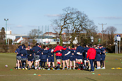 England U20 players huddle during a session at Bristol Rugby's training facility ahead of the U20 Six Nations match versus Wales - Mandatory byline: Rogan Thomson/JMP - 08/03/2016 - RUGBY UNION - Clifton Rugby Club - Bristol, England - England Under 20s Training at Bristol Rugby.
