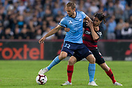 SYDNEY, AUSTRALIA - APRIL 13: Sydney FC midfielder Siem de Jong (22) shields the ball from Western Sydney Wanderers midfielder Roly Bonevacia (28) at round 25 of the Hyundai A-League Soccer between Western Sydney Wanderers and Sydney FC  on April 13, 2019 at ANZ Stadium in Sydney, Australia. (Photo by Speed Media/Icon Sportswire)
