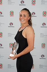 CARDIFF, WALES - Monday, October 5, 2015: Wales' Natasha Harding with the Woman's Fans' Favourite Award during the FAW Awards Dinner at Cardiff City Hall. (Pic by Ian Cook/Propaganda)