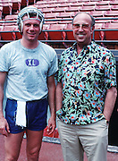 San Francisco 49ers quarterback Joe Montana poses for a photo after practice with NFL Commissioner Pete Rozelle during the week of the 1988 NFL Pro Bowl football game between the AFC American Football Conference and the NFC National Football Conference on Feb. 5, 1988 in Honolulu. The AFC won the game 16-6. (©Paul Anthony Spinelli)
