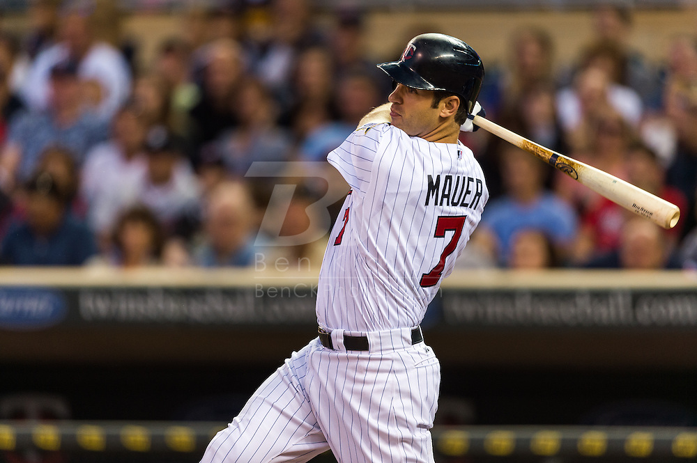 Joe Mauer (7) of the Minnesota Twins bats during a game against the Tampa Bay Rays on August 10, 2012 at Target Field in Minneapolis, Minnesota.  The Rays defeated the Twins 12 to 6.  Photo: Ben Krause