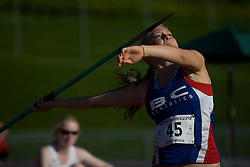 (Sherbrooke, Quebec---10 August 2008) Selina Byer competing in the javelin at the 2008 Canadian National Youth and Royal Canadian Legion Track and Field Championships in Sherbrooke, Quebec. The photograph is copyright Sean Burges/Mundo Sport Images, 2008. More information can be found at www.msievents.com.