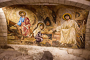 Israel, Nazareth, ancient baptism basin in the lower level Church of St Joseph in the Basilica of the Annunciation compound. built in 1914. The caves in the lower level were used by christians as a worship site tradition identifies the place as the carpentry shop of Joseph or the house of Joseph