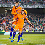 DUBLIN, Ierland - Nederland, voetbal, interland, oranje, oefenduel, 27-05-2016, Aviva Stadium, Nederland speler Luuk de Jong (R) heeft de 1-1 gescoord, Nederland speler Bas Dost (L).