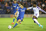 AFC Wimbledon attacker Egli Kaja (21) dribbling during the EFL Trophy match between AFC Wimbledon and Luton Town at the Cherry Red Records Stadium, Kingston, England on 31 October 2017. Photo by Matthew Redman.