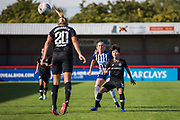Ji So-Yun (Chelsea) watches as Joanna Andersson (Chelsea) heads the ball away during the FA Women's Super League match between Brighton and Hove Albion Women and Chelsea at The People's Pension Stadium, Crawley, England on 15 September 2019.