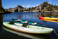 SD00072-00...SOUTH DAKOTA - Boats docked on Sylvan Lake in Custer State Park.