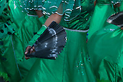 Fern of a green costumed woman. Carnival. Mindelo. Cabo Verde. Africa.